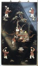 VINTAGE CHINESE  BEAUTIFULLY PAINTED EBONEY PANEL WITH CARVED STONE FIGURES