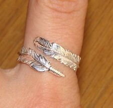 925 Sterling Silver Angel Feather Ring Adjustable Fits sizes M N O P Q R S Boxed