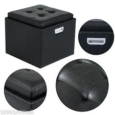 HOMCOM Storage Ottoman Stool PU Leather Seat Seater Wood frame Chest Funiture