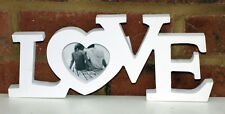 Love Photo Heart Frame White Out Word Sign Ornament Shabby Chic 28m  New