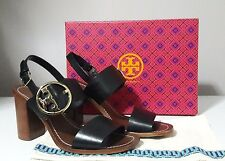 Tory Burch Thames Black Leather Sandal Heels Size 9