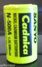 Brand New Sanyo Cadnica N-500A 1.2V 500mAh Nickel Cadmium Battery NICAD