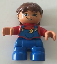 *NEW* Lego DUPLO GIRL BLUE Legs RED Top w BLUE OVERALLS with FLOWER BROWN Hair