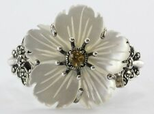Sterling Silver Marcasite Citrine Mother of Pearl Hibiscus Flower Butterfly Ring