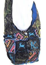Western Camo Mossy Oak DEER Embroidery Cross Body Aztec Messenger Rag Bag Blue