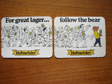 2  HOFMEISTER  LAGER ' FOLLOW THE BEAR'   BEER  MATS / COASTERS /SOUS BOCK   NEW