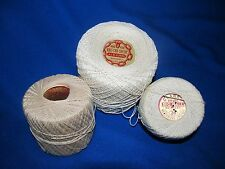 Lot of 3  Spools of Tatting Crochet Thread White Ecrue 100% Cotton Asst Sizes
