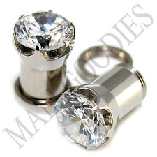1258 Screw-on / fit Clear Solid CZ Prongs Ear Plugs Retainers 0 Gauge 0G 8mm