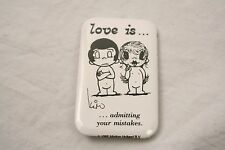 VINTAGE 3'' BY 2'' LOVE IS ADMITTING YOUR MISTAKE 1985 PINBACK BUTTON KIM CASALI
