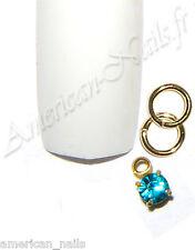 Piercing avec anneau bijou d'Ongle Strass SWAROVSKI bleu Zircon 2,5mm Nail Art