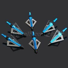 6Pcs 3 blades 100 Grain Metal Broadheads Hunting Arrow Heads Crossbow Blue