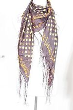 Dot with letter  print fringe 100% silk scarf, Valentino pattern, black/yellow