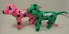 2 Victoria Secret Plush Pink Dog PINK & GREEN WITH BLACK SPOTS Happy 1 NWT