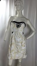 Lilly Pulitzer Women Strapless Gold White and Black Dress size 10