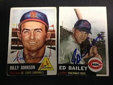 Autographed 1953 Topps Original Ed Bailey Reds Card and Autograph with COA