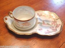 Antique Hptd Japanese Kutani Porcelain Taisho Period Tennis Cup & Tray SChip