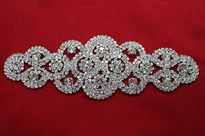 Rhinestone Diamonte Silver Bridal Wedding Sew On Motif Crystal Applique Patch 96