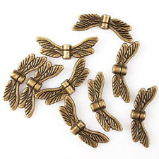 70pcs Vintage Bronze Dragonfly Wings Charms Zinc Alloy Spacer Beads Jewelry D