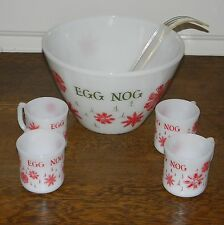 Vintage Fire King Red & Green Egg Nog Bowl with 4 Matching Handled Cups & Ladle