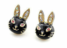 Enamel crystal black bunny rabbit hare stud charm earrings