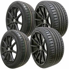 """4 18"""" Full Black Alloy Wheels Tyres 5x120 Bmw E46 3 Series 8"""" 9"""" Rear Staggered"""