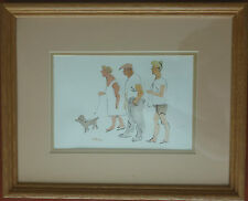 Original Painting Family Walk w Dog Black Ink Watercolor Paper Signed D Woods