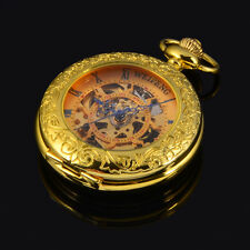 New Gold Plated magnifier Glass For Old Mens Mechanical Pocket Watch With Chain