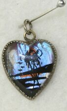 VINTAGE HOFFMAN STERLING SILVER BUTTERFLY WING TROPICAL HEART CHARM