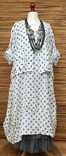 LAGENLOOK LINEN AMAZING BOHO 2 PCS DOTS DRESS+JACKET*WHITE*SIZE XL BUST UP TO 52