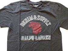 New Ralph Lauren Denim and Supply Vintage Black 100% Cotton Indian T Shirt L