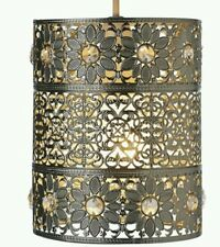 MOROCCAN STYLE PENDANT CEILING LIGHT SHADE SILVER JEWEL BEADED FLOWER  METAL