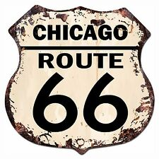 BP-0028 CHICAGO ROUTE 66 Shield Rustic Chic Sign Bar Store Shop Home Decor