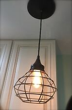Industrial Edison Hanging Cage PENDANT Accent Light Lamp ~Screw in Existing Can