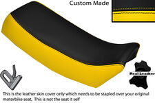 BLACK & YELLOW CUSTOM FITS SUZUKI TSX 125 85-88 LEATHER DUAL SEAT COVER ONLY
