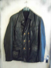 VINTAGE 70's GERMAN POLICE OFFICERS LEATHER JACKET SIZE M PEA COAT MOTORCYCLE WW