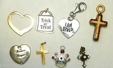 Lot of 8 Vintage Charms Cross Heart Rhinestone Teacher Crown