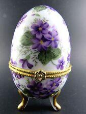 Faberge Inspired Ester Egg Trinket Box Violet Flowers (W6-5)