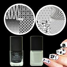 4Pcs/Set Wave Line Theme Nail Art Stamp Plates Black White Stamping Polish Kit