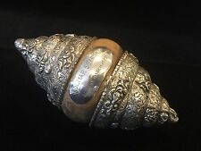 """Rare Vintage India Handcarved Solid Silver w/Wood Shell Shaped Box, 6 1/2"""" Long"""
