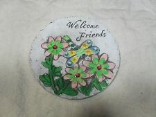"Decorative Stepping Stone ~ Faux Stone ~ ""Welcome Friends"" ~ w/ Flowers & Dragon"