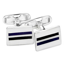 Sterling Silver Black and Blue Striped Cufflinks Jewellery