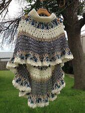 Circular Asymmetric Long Poncho Shawl Crochet Pattern PDF File