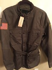NWT RALPH LAUREN DENIM SUPPLY MILITARY GREEN BROWN WAXED MOTO MENS JACKET MEDIUM