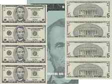 2001 $5 Bill 4 Note Uncut Sheet New York District Original BEP Display Card