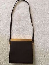 DONNA KARAN NY MADE IN ITALY SOFT BROWN LEATHER w/MATTE GOLD ACCENT HANDBAG