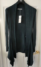 M&S Cotton Blend Open Front Ribbed Oblong Cardigan, SZ 22, Forest Green, BNWT