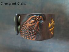 Hand carved Eagle leather wristband Blessing bracelet Cheergiant Crafts老鷹皮雕平安手環