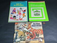 Lot of 3 VINTAGE 80's Childrens Text and Workbooks Math Spanish English