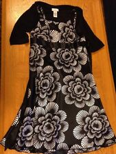 IZ Byer California Size 16 Polyester Black & White Floral Dress W/ Bolero - CUTE