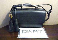 DKNY Black Bryant Park Vintage Style Leather Date Shoulder Bag crossbody $275